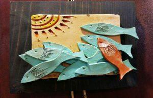 تابلو سفال طرح ماهی